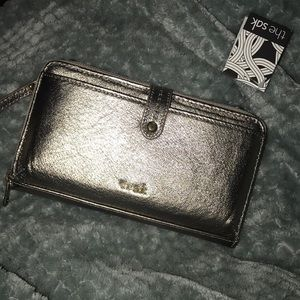 The Sak Silver Crossbody Wallet
